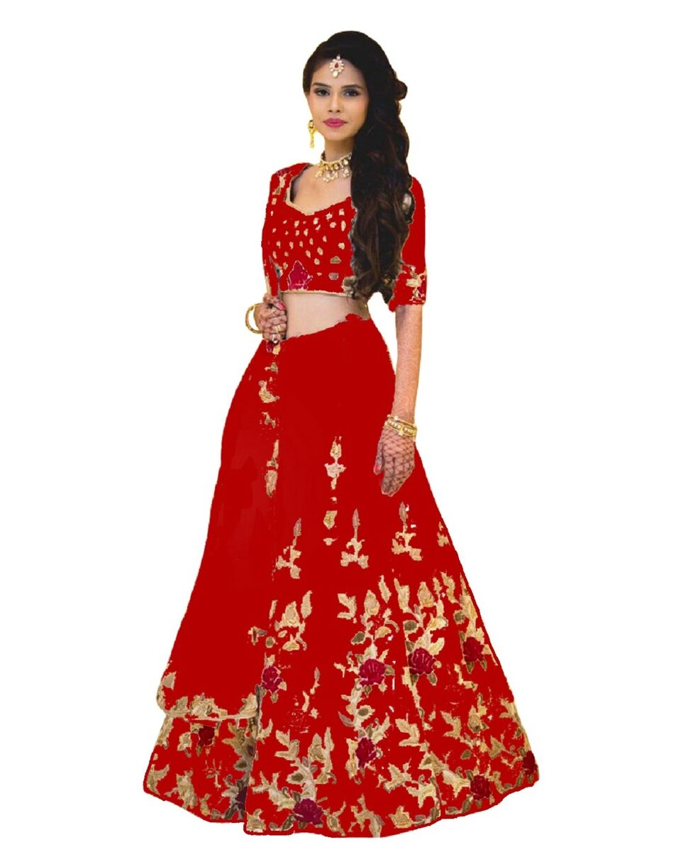 2a3eda7aeba Embroidered Semi Stitched Lehenga Choli (Red) – Shopyvate-