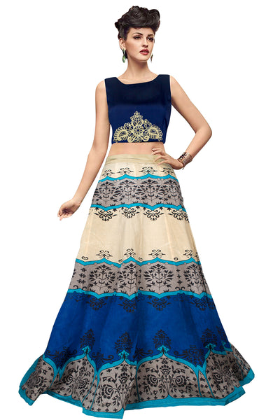 db1479c44bb Exclusive Printed Semi Stitched Lehenga (Cream   Blue )