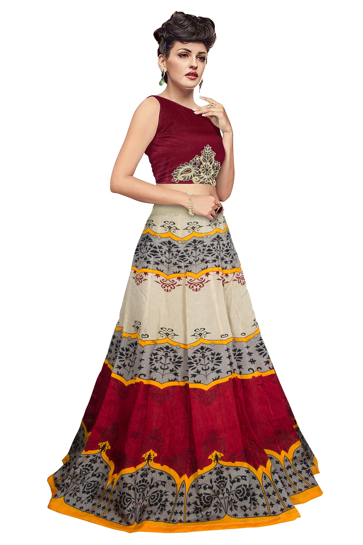 c1c36dd070 Exclusive Printed Semi Stiched Lahenga (Cream & Red) – INDIAN LADDY