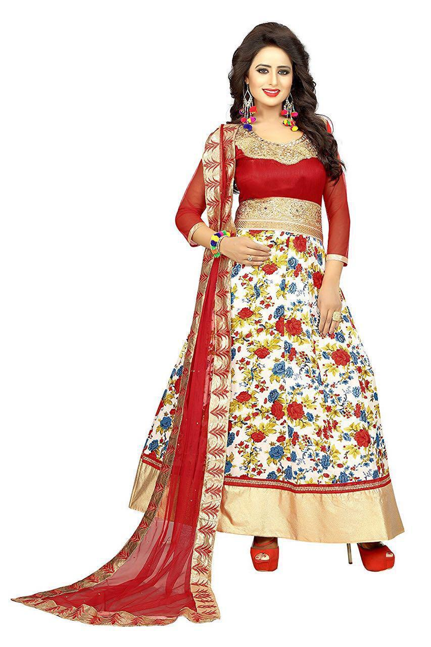 94bf159d3b Floral Print Lace Work Semi Stitched Lehenga & Choli (RED) – INDIAN ...
