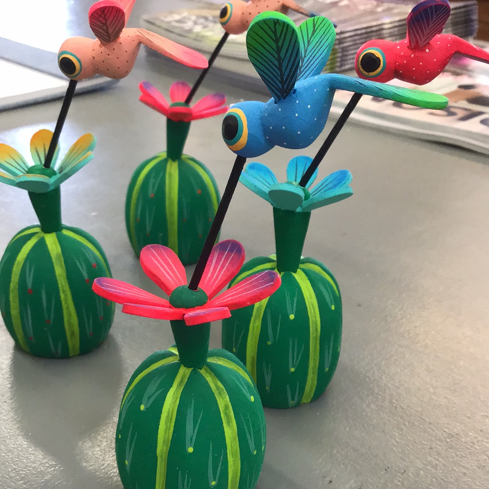Oaxacan Wood Carving Cactus with Hummingbird