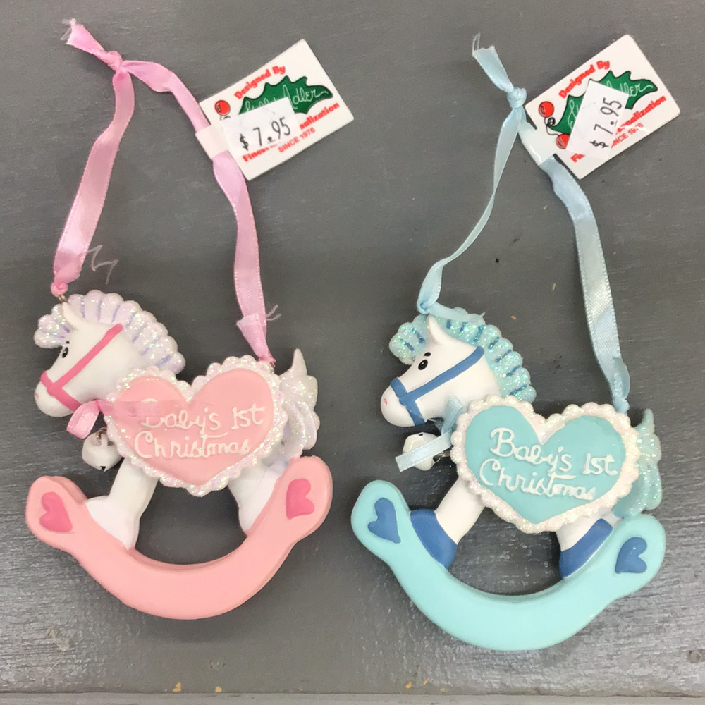 Baby's First Christmas Rocking Horse Ornament with Bell