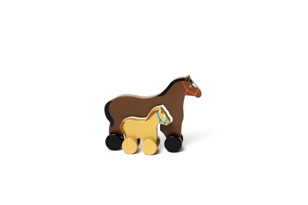 Horse Mommy and Baby Push Toy (Big and Little)