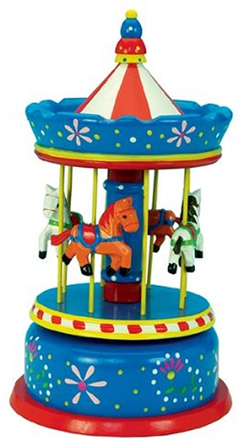 Wooden Wind Up 14.4 Inch Carousel Blue Music Box