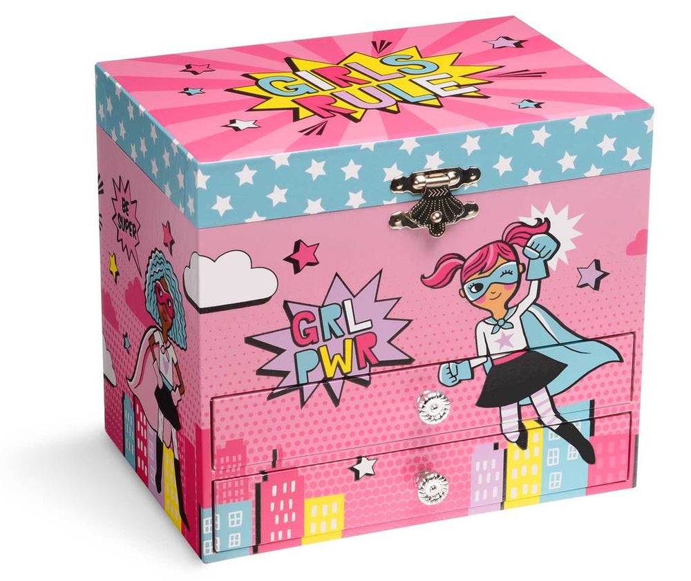 Girl Power Musical Jewelry Box w/ Two Pull-Out Drawers