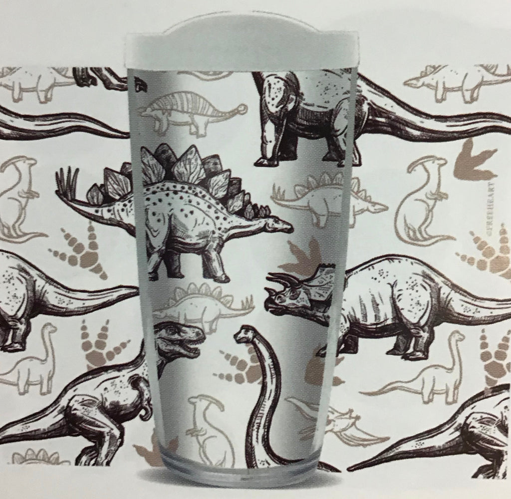 Dinosaur Black and White Tumbler