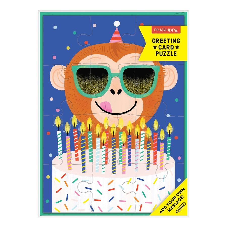 Monkey Cake Greeting Card Puzzle