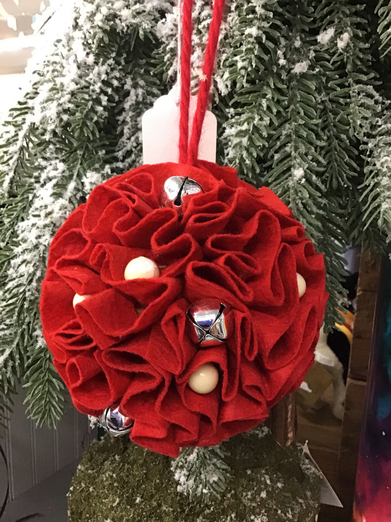 Red Fabric Ball Ornament