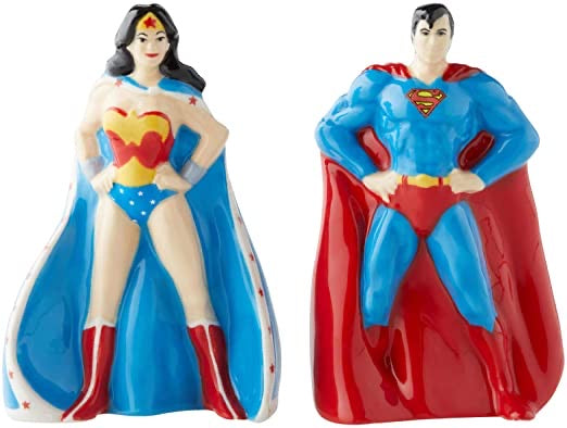 Superman & Wonder Woman Salt and Pepper Shakers