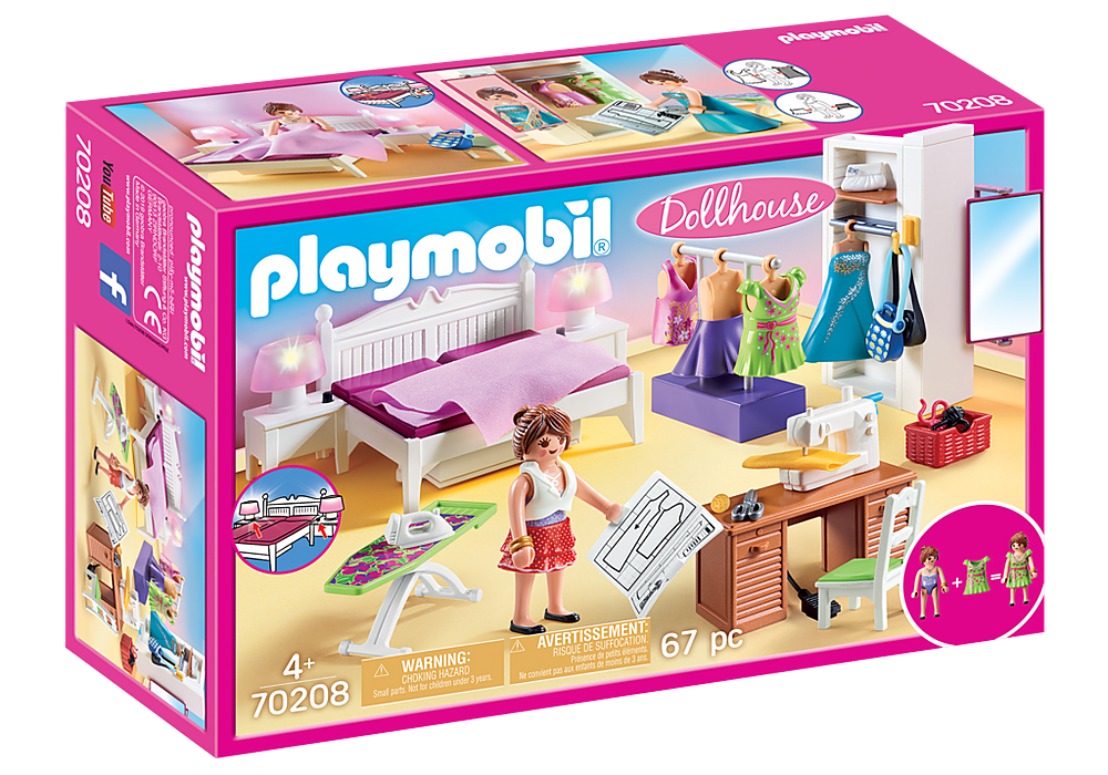 Playmobil Dollhouse 70208 Bedroom with Sewing Room