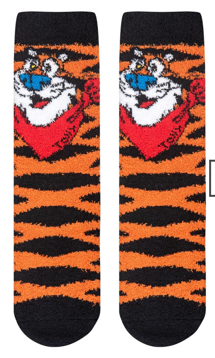Fuzzy Tony The Tiger Frosted Flakes Crew Socks