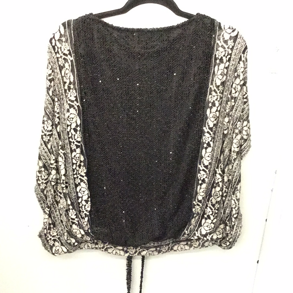 A'reve Black Top with Lace Sleeves - ata5014s