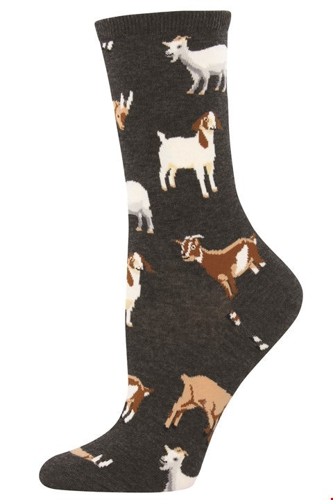 Men's Silly Billy Goat Sock Charcoal Heather Crew Socks
