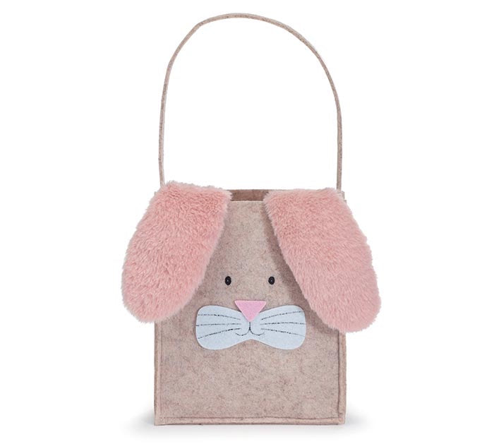 Natural Felt Bunny Bag with Pink Ears