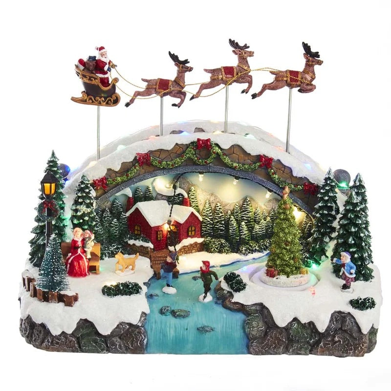 Lighted Holiday Village Santa and Reindeer - 12935659