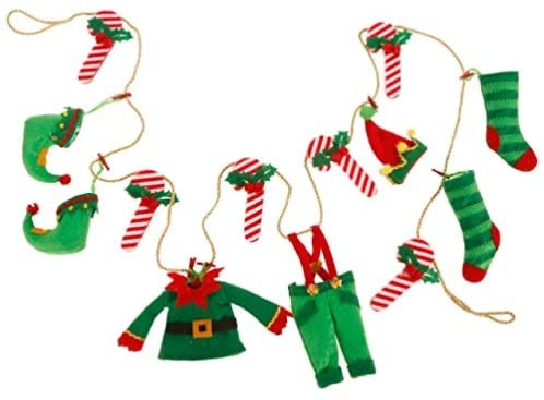 Elf Clothes and Candy Cane Garland