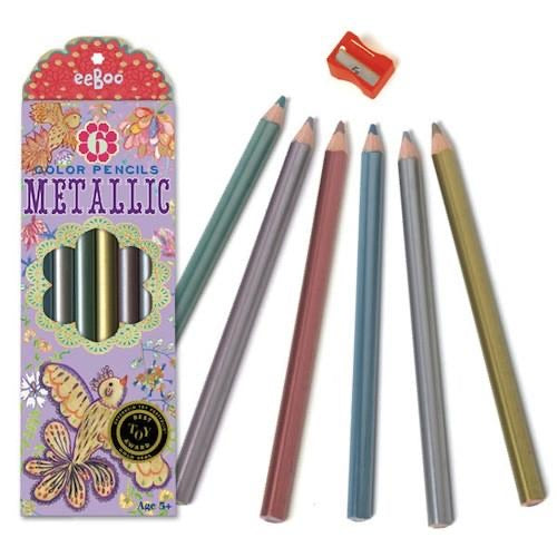 Gold Birds Metallic Colored Pencils - Set of 6