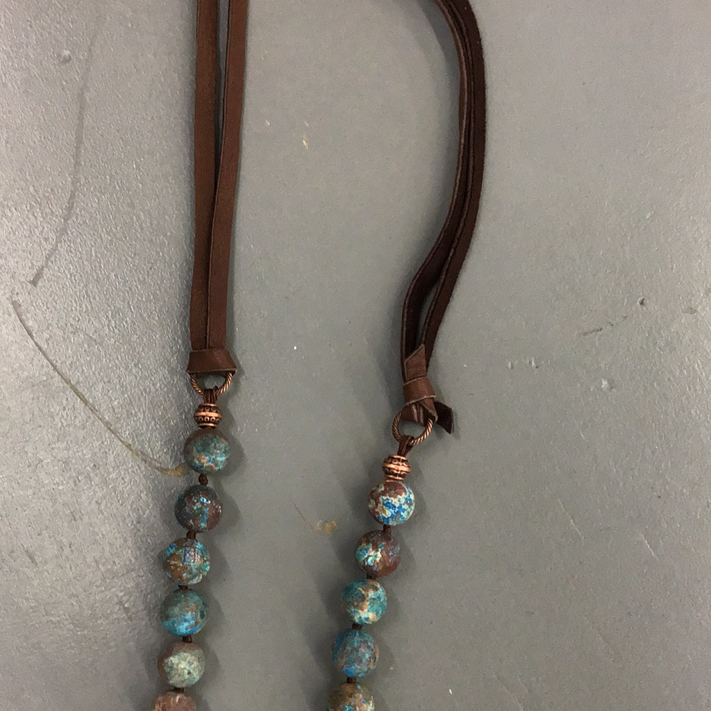 Turquoise and Brown Stone Necklace- CC89