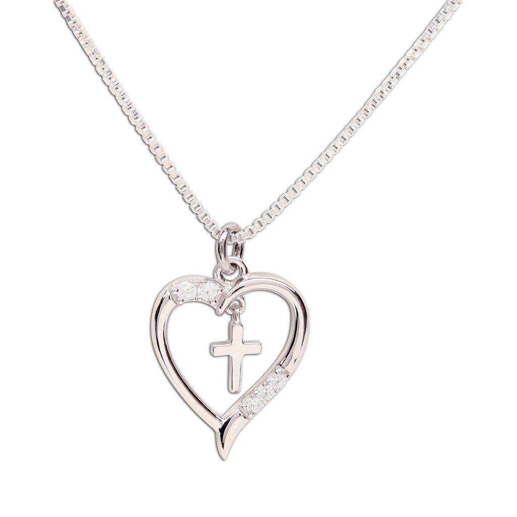 First Communion Silver Dancing Heart with Cross Necklace