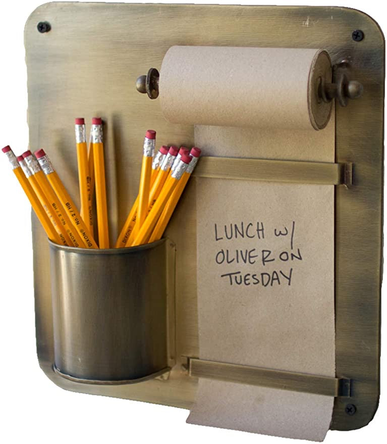 Note Roll with Pencil Holder Brass Wall Rack  - KL2