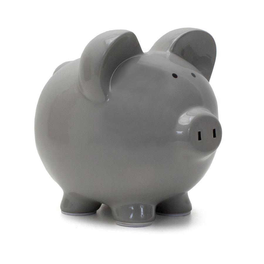 Large Grey Piggy Bank