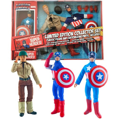 "Diamond Select Toys Marvel Limited Edition Captain America 8"" Retro Action Figure Set"