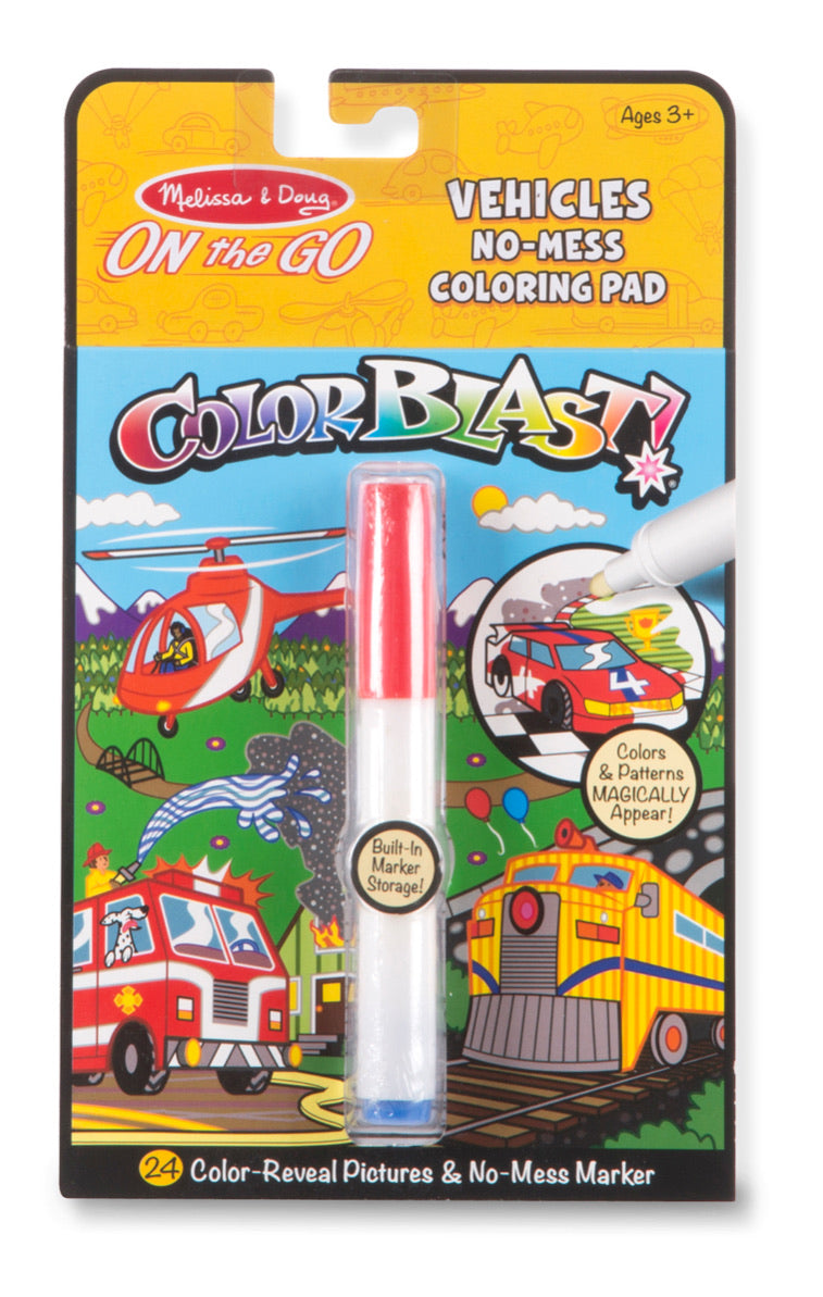Color Blast! Vehicles No-Mess Coloring Pad