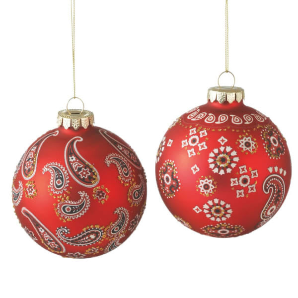 Bandana Print Glass Ball Christmas Ornament