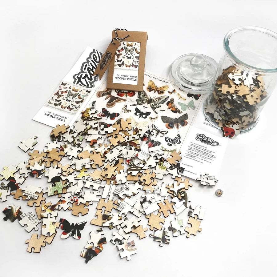 I Go To (250) Pieces Wooden Puzzle: Butterflies + Moths in Glass Apothecary Jar