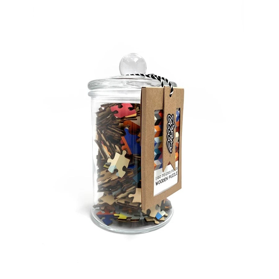 I Go To (250) Pieces Wooden Puzzle: Herringbone Repeat in Glass Apothecary Jar