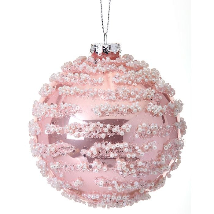 "4"" Glass Pearl Swirl Ball Ornament"