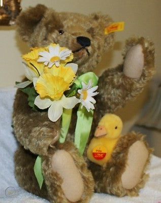"14"" TAN STEIFF MOHAIR TEDDY BEAR & BABY DUCK"