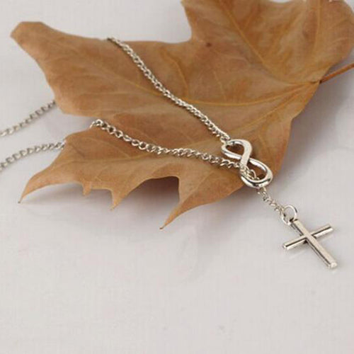 Fashion Casual Infinity Cross Lariat Pendant Necklace