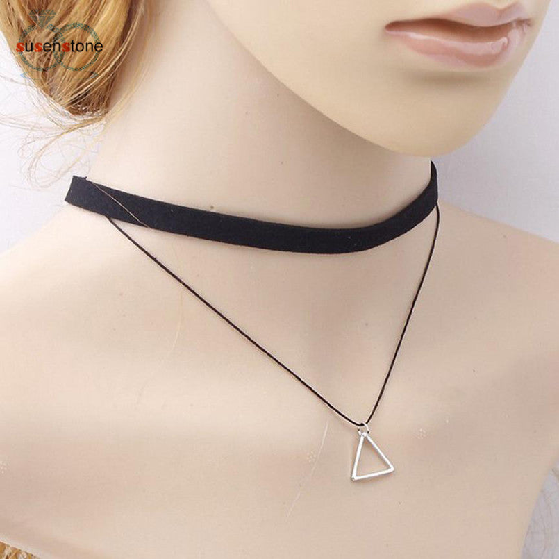 Triangle Geometric Pendant Necklace with Sexy Black Charm