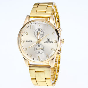 Men's Diamond Dial Watch with Steel Band