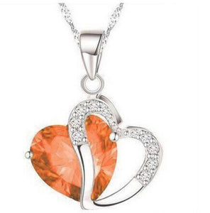 Heart-shaped Crystal Rhinestone Silver Pendant Necklace