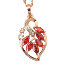 Load image into Gallery viewer, Leaf Design, Garnet, Gold with Crystal Pendant and Necklace
