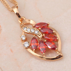 Leaf Design, Garnet, Gold with Crystal Pendant and Necklace