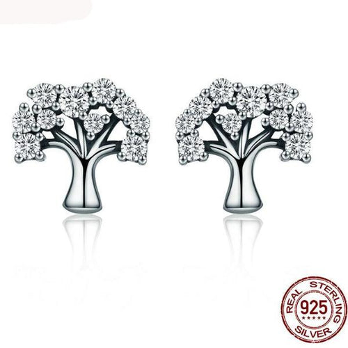 100% Sterling Silver 'Tree of Life' Stud Earrings