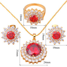 Load image into Gallery viewer, Garnet Jewelry Sets With Gold Tone Earrings, Necklace and Ring