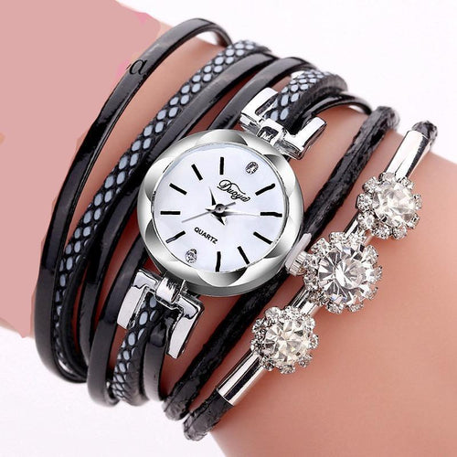 Bracelet Watches For Women Luxury Silver Crystal Quartz Watch