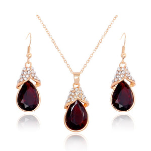 Water Drop Design Garnet, Crystal and Gold Jewelry Sets
