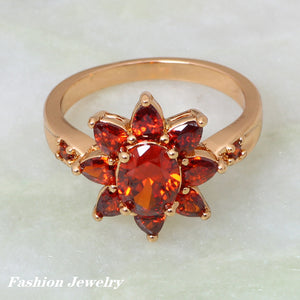 Flower Design Garnet and Gold Plated Ring