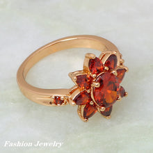 Load image into Gallery viewer, Flower Design Garnet and Gold Plated Ring