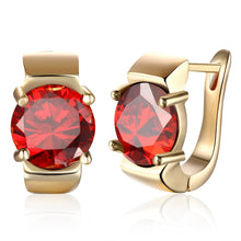 Load image into Gallery viewer, Garnet & Gold Stud Earrings