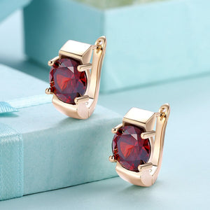 Garnet & Gold Stud Earrings