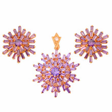 Load image into Gallery viewer, Purple Zircon, Garnet and Gold Pendant Stud Earrings Jewelry Set