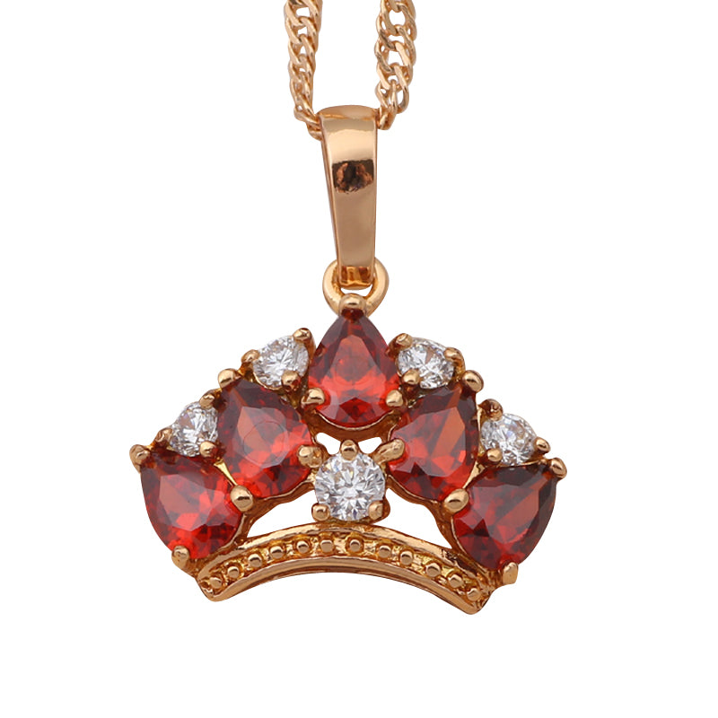 Royal Crown Design Ruby, Gold and Crystal Pendant & Necklace