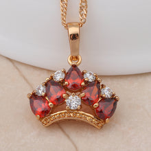 Load image into Gallery viewer, Royal Crown Design Ruby, Gold and Crystal Pendant & Necklace