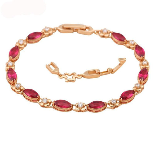 Adjustable Garnet, Crystal & Gold Bracelets